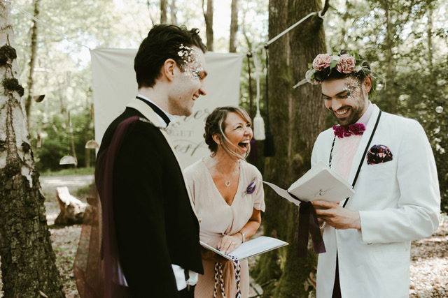 Celebrant officiating Gay Wedding with glitter & handfasting